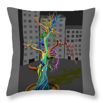 Flaming Tree Throw Pillow