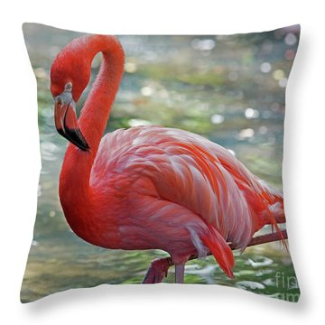 Flamingo 2  Throw Pillow by Larry Nieland