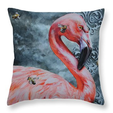 Flamingo And Bees Throw Pillow