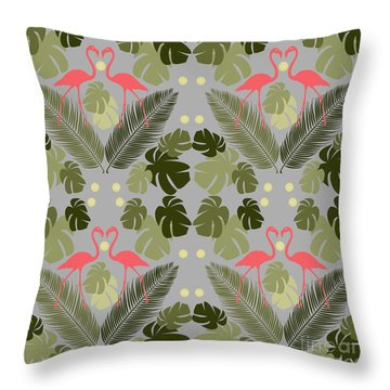 Flamingo And Palms Throw Pillow