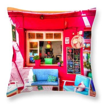 Flamingo Beach Bar Throw Pillow