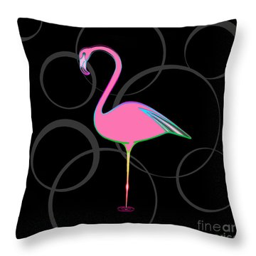 Flamingo Bubbles No 1 Throw Pillow