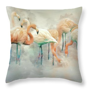 Flamingo Fantasy Throw Pillow by Brian Tarr