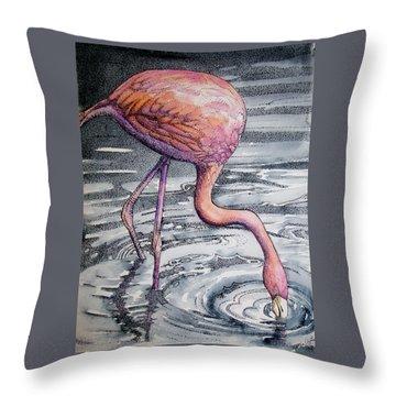 Flamingo Fishing  II Throw Pillow