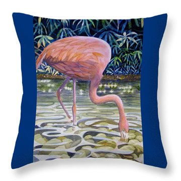 Flamingo Fishing Throw Pillow