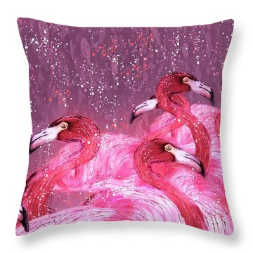Flamingo Frenzy Throw Pillow by Barbara Chichester