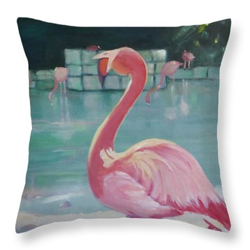 Flamingo Throw Pillow by Julie Todd-Cundiff