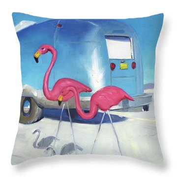 Flamingo Migration Throw Pillow