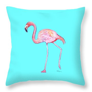 Flamingo On Blue Throw Pillow