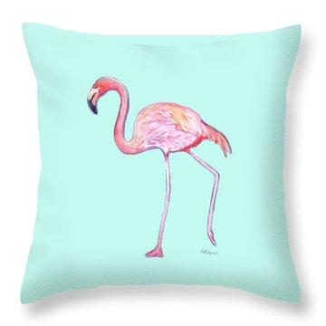 Flamingo On Mint Background Throw Pillow