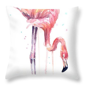 Flamingo Painting Watercolor Throw Pillow