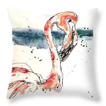 Flamingo Pool Throw Pillow