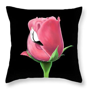 Flamingo Rose Throw Pillow