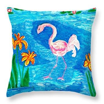Flamingo Throw Pillow by Sushila Burgess