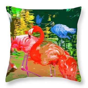 Flamingo Time Throw Pillow