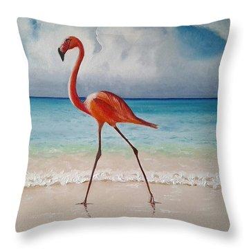 Flamingo Walk Throw Pillow
