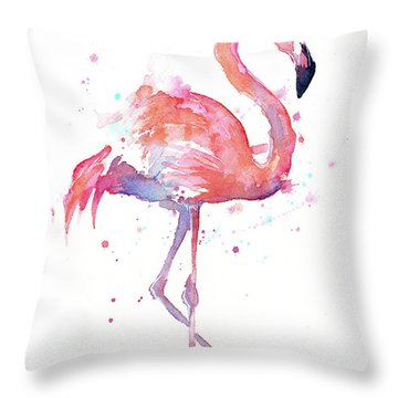 Flamingo Watercolor Facing Right Throw Pillow
