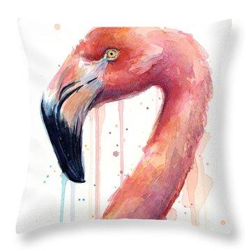Flamingo Watercolor Illustration Throw Pillow