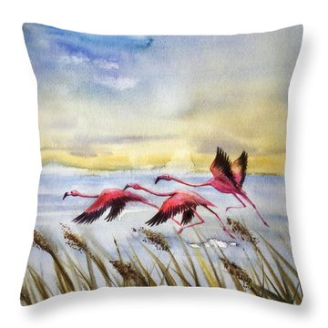 Flamingoes Flight Throw Pillow