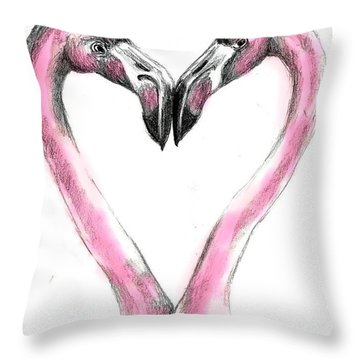 Flamingoes In Love2 Throw Pillow