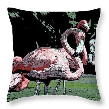 Throw Pillow featuring the photograph Flamingos I by Jim and Emily Bush