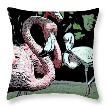 Throw Pillow featuring the photograph Flamingos II by Jim and Emily Bush