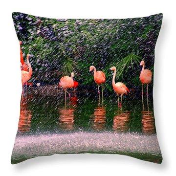 Flamingos II Throw Pillow by Susanne Van Hulst