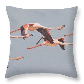 Flamingos In Flight Throw Pillow