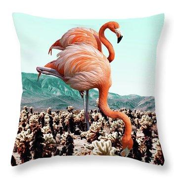 Flamingos In The Desert Throw Pillow by Uma Gokhale