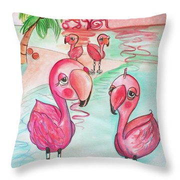 Flamingos In The Sun Throw Pillow
