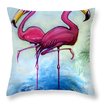 Throw Pillow featuring the painting Flamingos by Kevin Middleton
