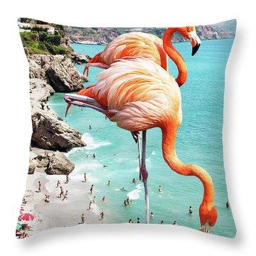 Flamingos On The Beach Throw Pillow