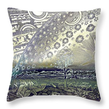 Throw Pillow featuring the photograph Flammarion Engraving Colored by Robert G Kernodle