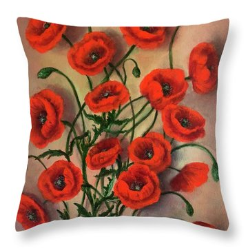 Flander Poppies Throw Pillow
