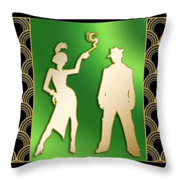 Throw Pillow featuring the digital art Flapper And The Gangster by Chuck Staley