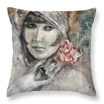Flapper With Peony Throw Pillow