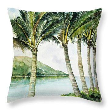 Flapping Palm Trees Throw Pillow by Han Choi - Printscapes