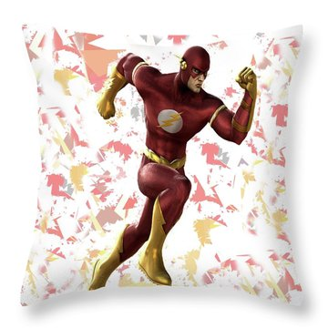 Throw Pillow featuring the mixed media Flash Splash Super Hero Series by Movie Poster Prints