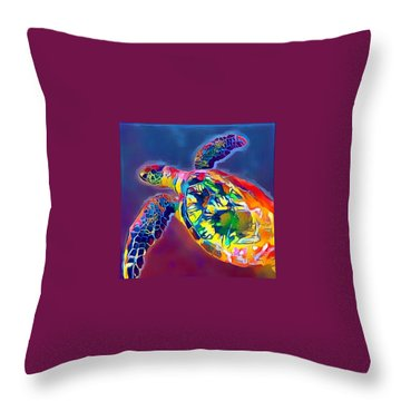 Throw Pillow featuring the digital art Flash The Turtle by Erika Swartzkopf