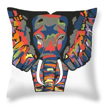 Flashy Elephant - Contemporary Animal Painting Throw Pillow