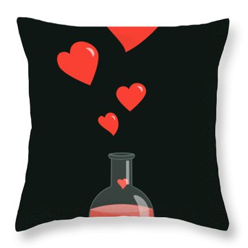 Flask Of Hearts Throw Pillow