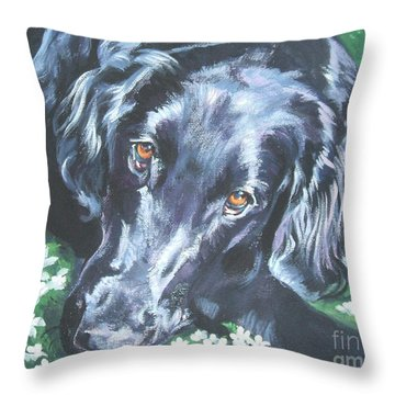 Throw Pillow featuring the painting Flat Coated Retriever by Lee Ann Shepard