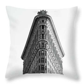 Throw Pillow featuring the photograph Flat Iron Building by MGL Meiklejohn Graphics Licensing