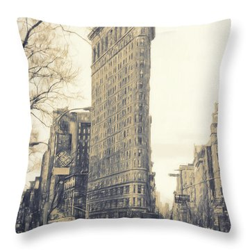 Flat Iron Building North Side - Sketch Throw Pillow