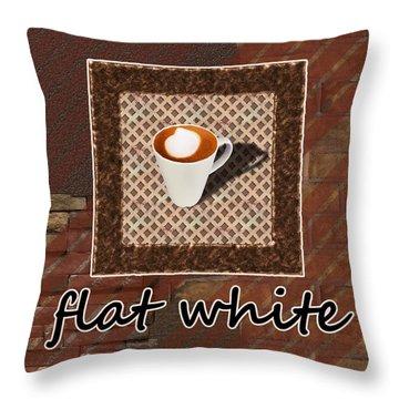 Throw Pillow featuring the photograph Flat White - Coffee Art by Anastasiya Malakhova