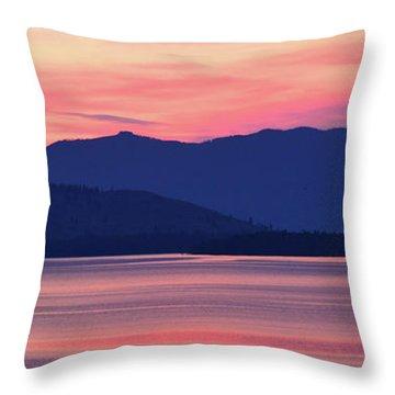 Flathead Lake At Sunrise Throw Pillow