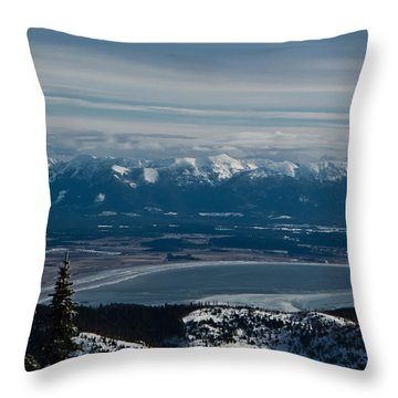 Flathead Valley In The Winter Throw Pillow