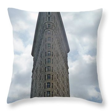 Flatiron Building Throw Pillow by Helen Haw