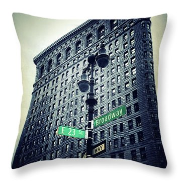 Throw Pillow featuring the photograph Flatiron Directions by Jessica Jenney