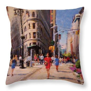 Flatiron Plaza, Summer Morning Throw Pillow